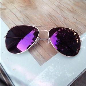 Accessories - Purple Polarized Aviator Gold Frame Sunglasses