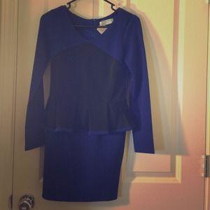 Blue and black peplum dress