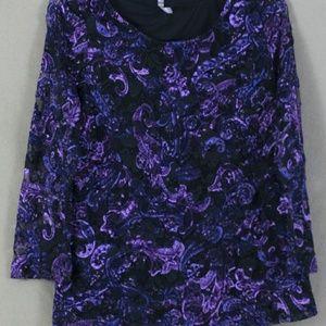 White Stag Purple Blue & Black Lace Top, XLarge