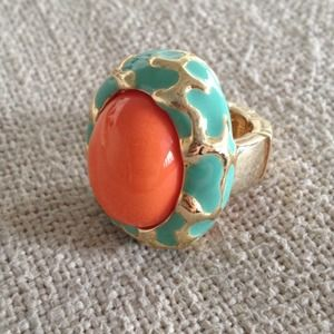 Jewelry - Coral and turquoise adjustable ring