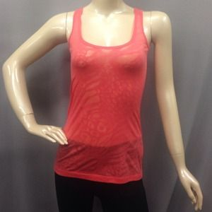Lot of 2 burnout tank tops coral & gray SMALL