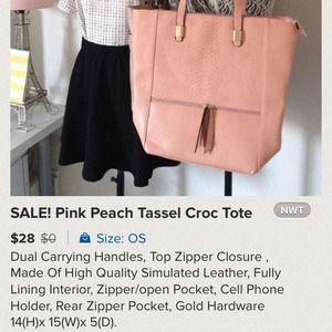 Bags - Dusty Peach/Pink Tassel Faux Croc Tote 4