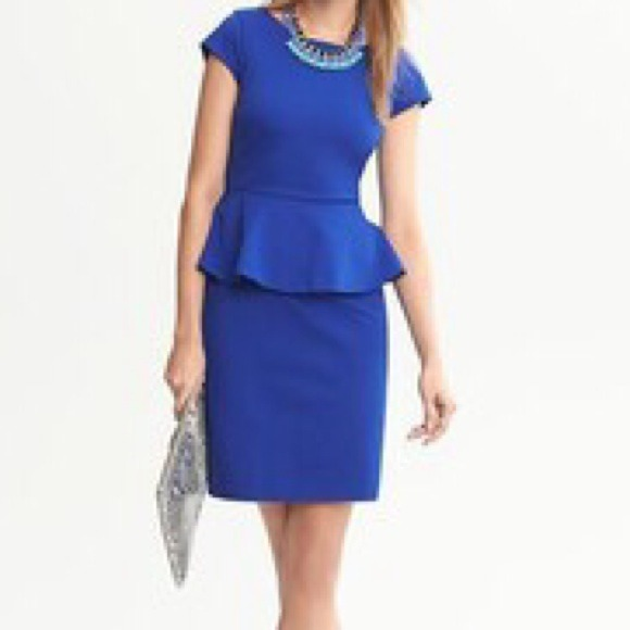 Banana Republic - Banana Republic Royal Blue Peplum Dress from ...