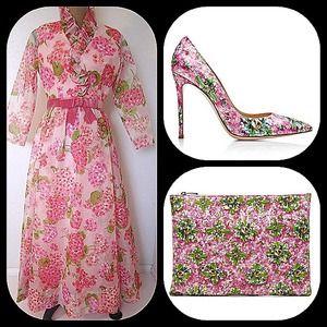 Miss Elliette pink floral chiffon garden tea dress