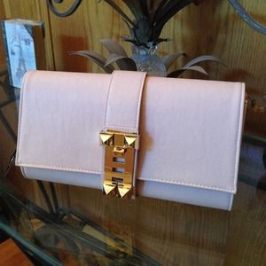 Pretty in Pink Clutch with Shoulder Strap & Clasp