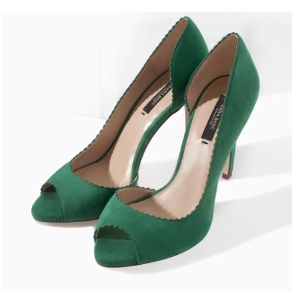 Zara Shoes   Zara Green Peeptoe Heels