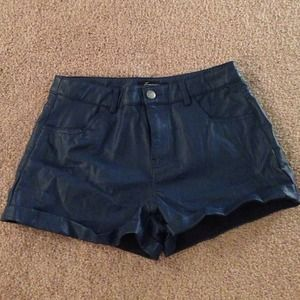 Forever 21 Blue Faux Leather Shorts