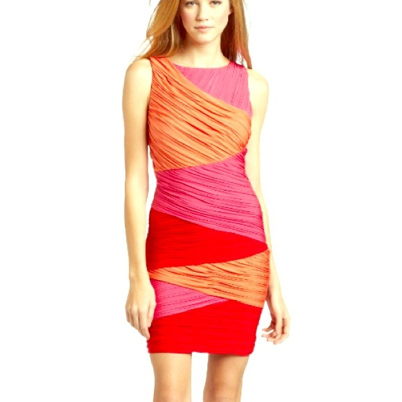 Color block dress red