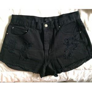 Denim - Distressed High Waisted Shorts