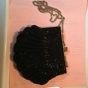 Handbags - Beaded black evening bag with chain shoulder strap