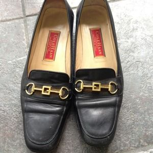 Cole Haan Shoes - Cole Haan Vtg Black Leather Loafers Slight Heels