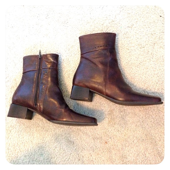 87% off Elle Shoes - Elle Brown Leather above ankle Boots zip ...