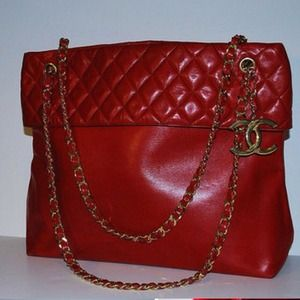 Authentic Chanel red lambskin tote
