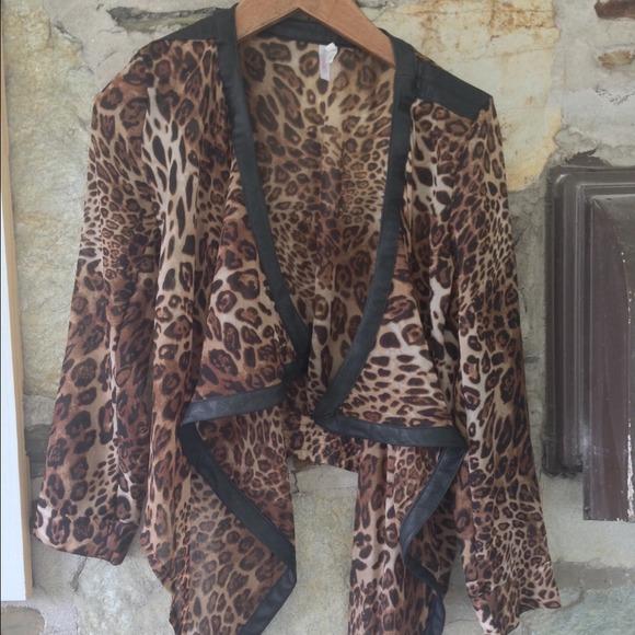 Leopard Leather Hopes Zipper Back sheer cardigan