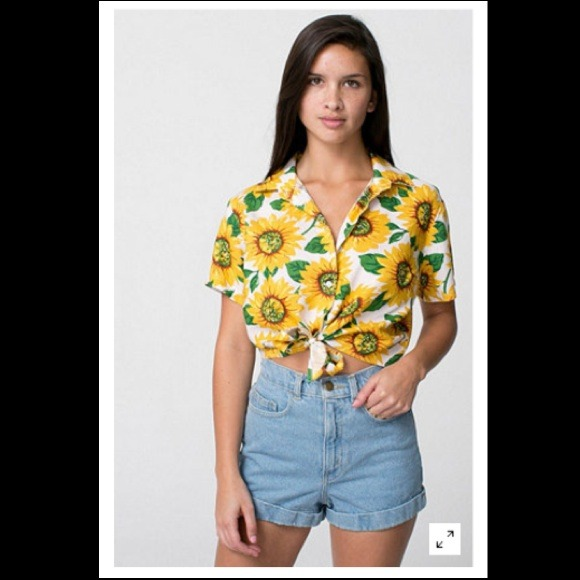 b44e35de8a95d American Apparel Tops - Floral Printed Rayon Mid-Length Tie-Up Blouse
