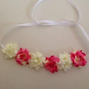 ombré hot pink & creme color flower halo