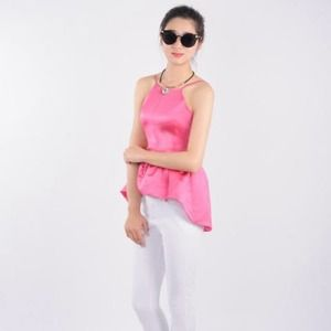 Satin Pink High Low Peplum Top