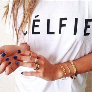 Tops - NEW White Celeb Style CELFIE T-Shirt💋