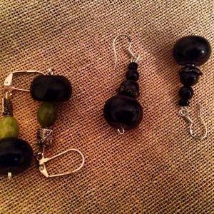 Jewelry - Onyx and jade earrings