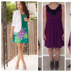 Old Navy Dresses & Skirts - BUNDLE: Green Floral Print Dress & Purple Dress