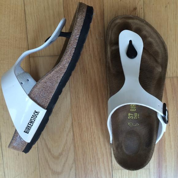 birkenstock gizeh sandal white patent
