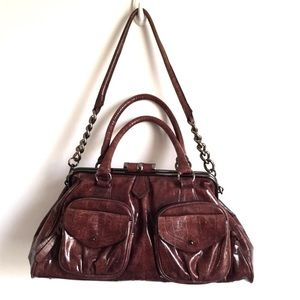 LARGE FAUX LEATHER BROWN BOUTIQUE HANDBAG