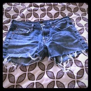 7 For All Mankind cut denim fringe shorts