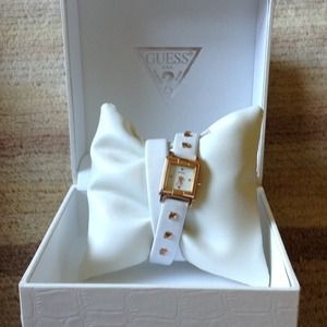 GUESS white leather and gold double wrap watch