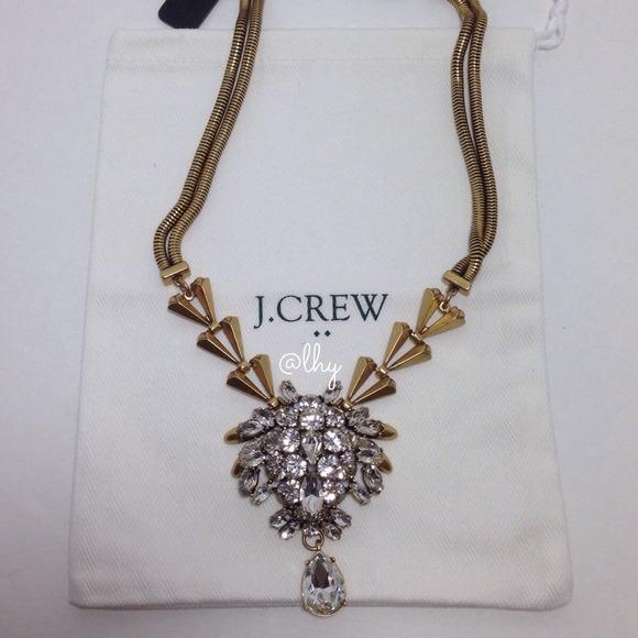 J.Crew Crystal Chevron Necklace 6ddc00c39b