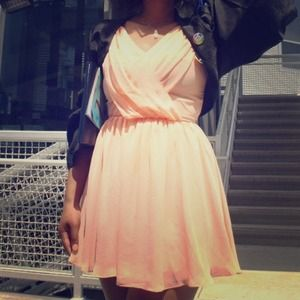 Cross Draped Chiffon Skater Dress