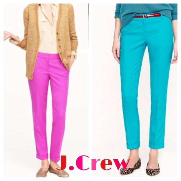 73% off J. Crew Pants - J.Crew Cafe Capri Petite Hot Pink Wool ...