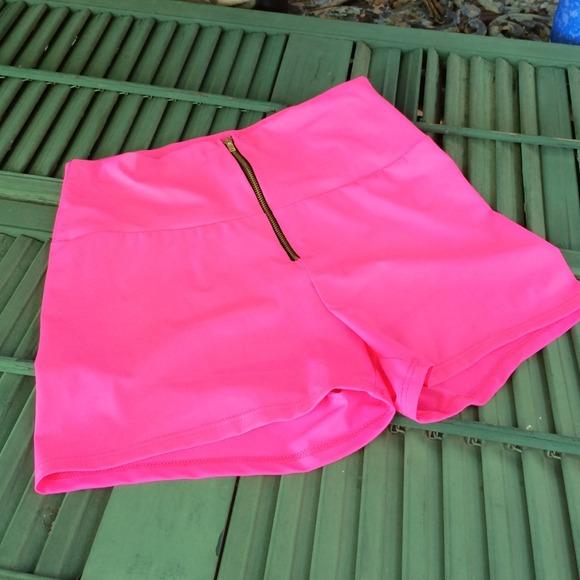 Hot Pink spandex High waisted shorts L from Carol's closet on Poshmark