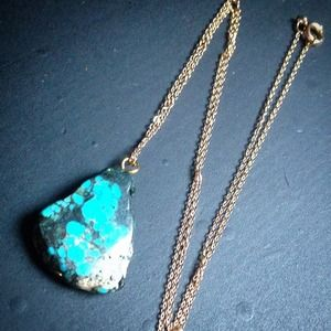 Simple + chic Chinese turquoise pendant necklace