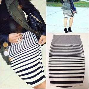 Striped Black&White Pencil Skirt