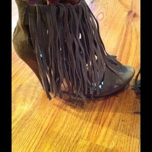 Shoes - Suede brown fringe heels