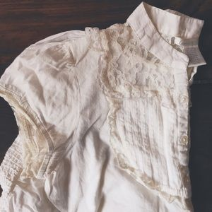 Ivory cotton and lace blouse