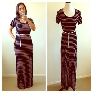 Calvin Klein Dresses & Skirts - Black and White Striped Calvin Klein Maxi Dress