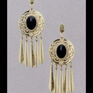 Antique. Gold fringe tassle tribal earrings