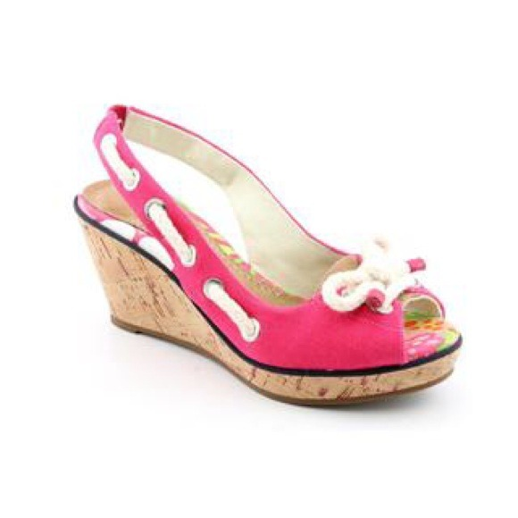 Sperry Top Sider Pink Canvas Wedge