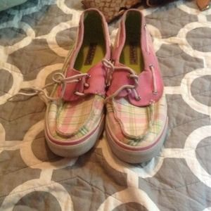 Sperry top-sider pink and green shoes