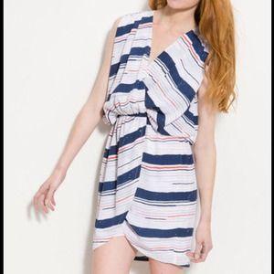 BCBGeneration Striped Blouson Wrap Dress