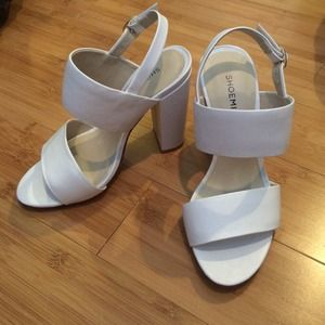 Fresh white 4-inch heeled sandals!