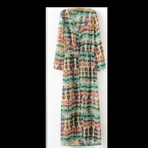 Zara Tie-Dye Printed Maxi Dress