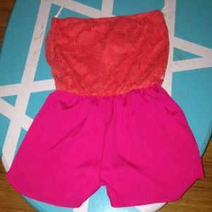 Coral and pink romper