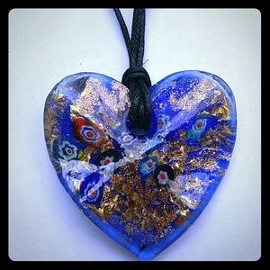 Murano Glass Blue Heart Pendant on Cord