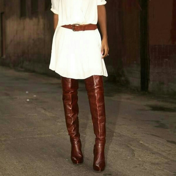50% off Charlotte Russe Boots - Cognac over the knee boots from