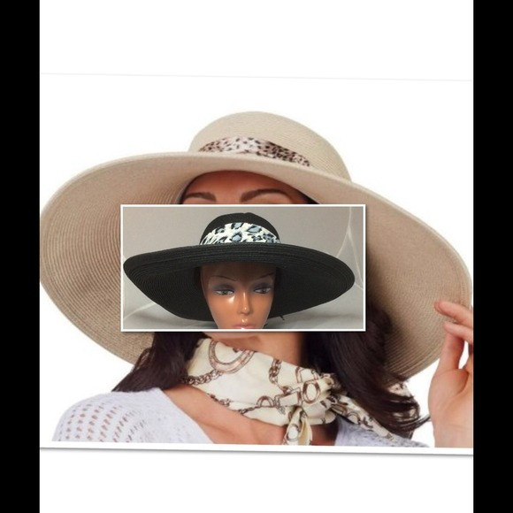 New Jackie Kennedy Collection Straw Hat 2 Scarves