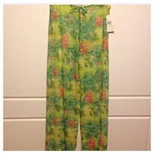 California Waves Pants - Sheer Tropical Print Palazzo Pants