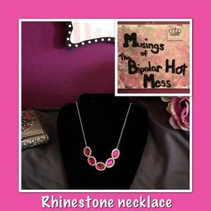 Pink and rhinestone statement necklace