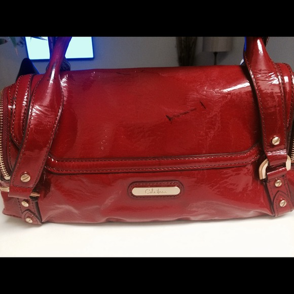 91123f0d6f Cole Haan Bags | Red Patent Leather Barrel Bag | Poshmark